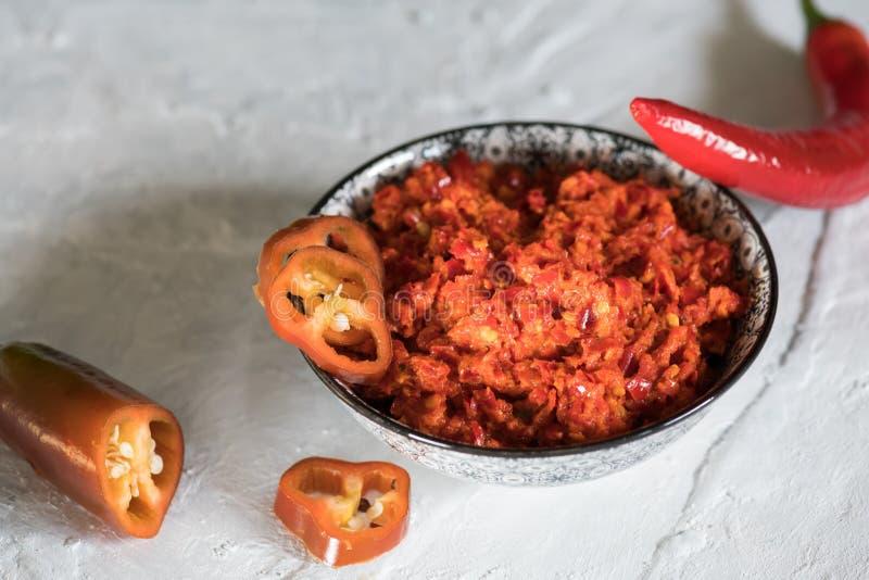 传统Maghrebi辣椒调味汁酱harissa Marocco和阿拉伯烹调 格鲁吉亚adjika 意大利peperoncino sause 库存图片