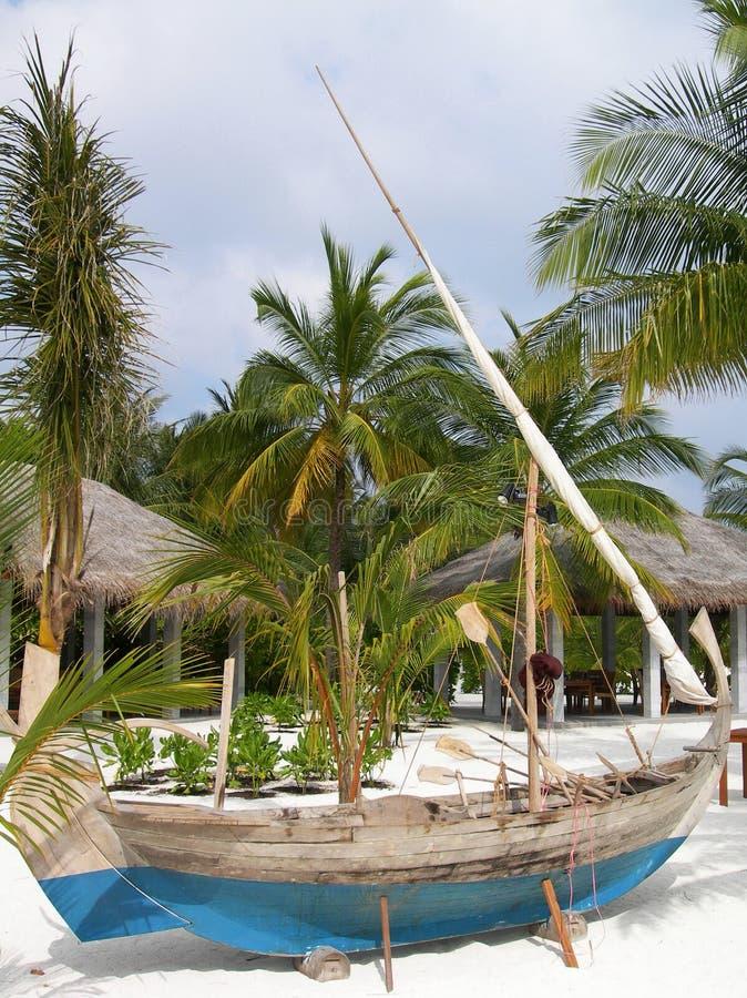 传统maldivian小船 免版税库存照片