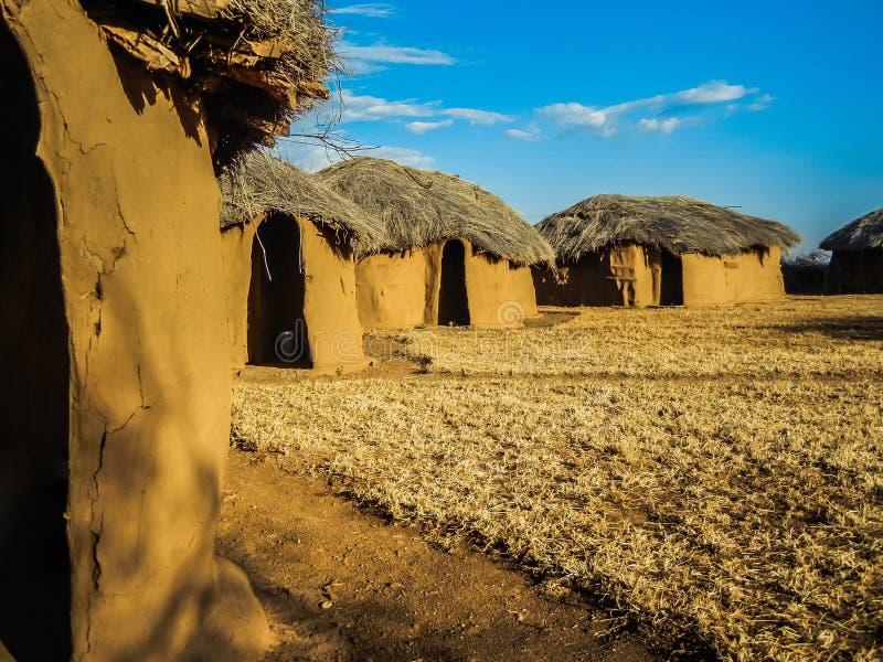 传统massai小屋由地球和木头制成 库存照片