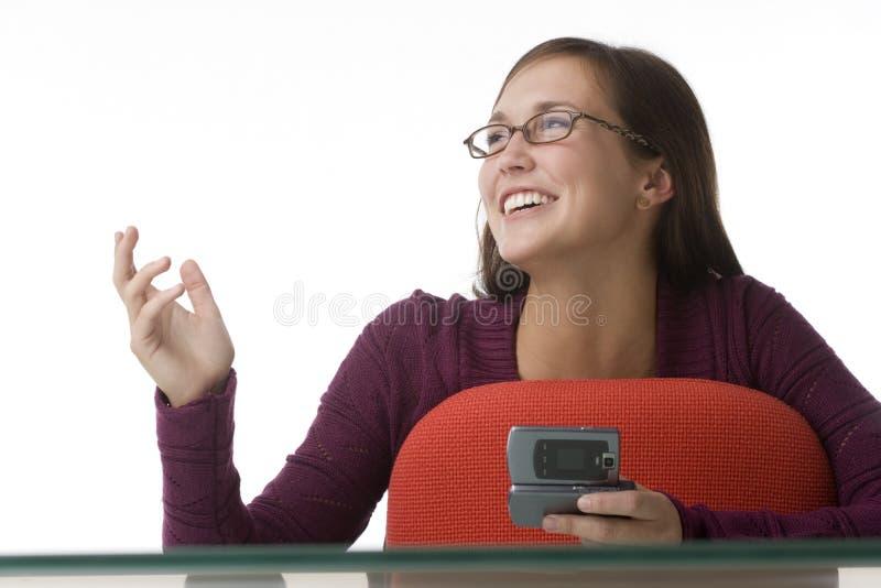 传讯文本妇女年轻人 免版税库存照片