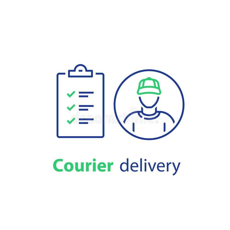 传讯者人、送货服务、清单和剪贴板线象 向量例证