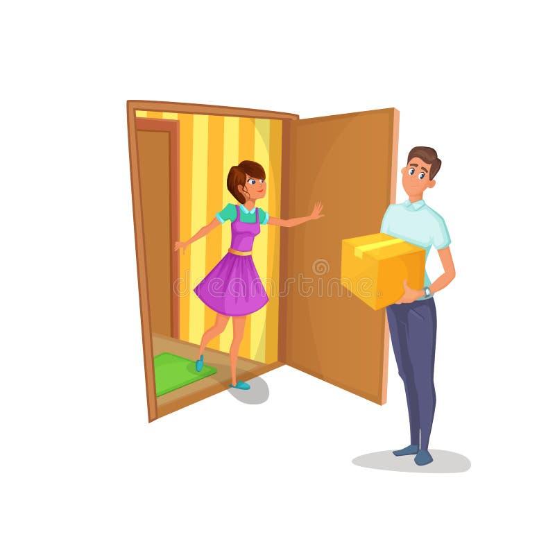 传讯者给妇女在家带来了包裹 主妇打开公寓的门并且遇见送货员 向量例证