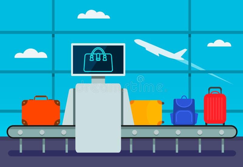 传送带交通安全机场有控制垫和屏幕的行李扫描器 行李考试 终端行李 库存例证