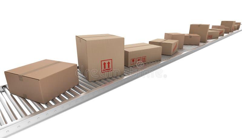 传送带把纸板传动机装箱 库存例证
