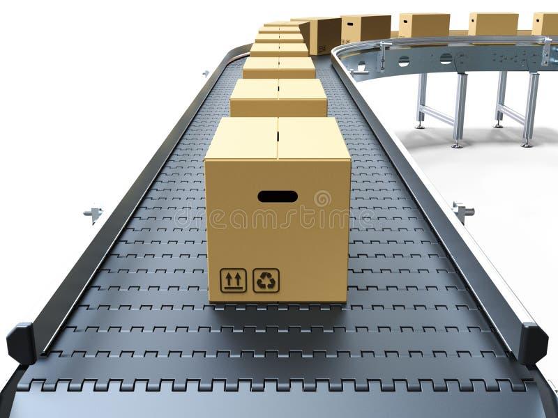 传送带把纸板传动机装箱 向量例证
