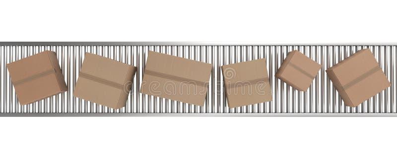 传送带把纸板传动机装箱 皇族释放例证