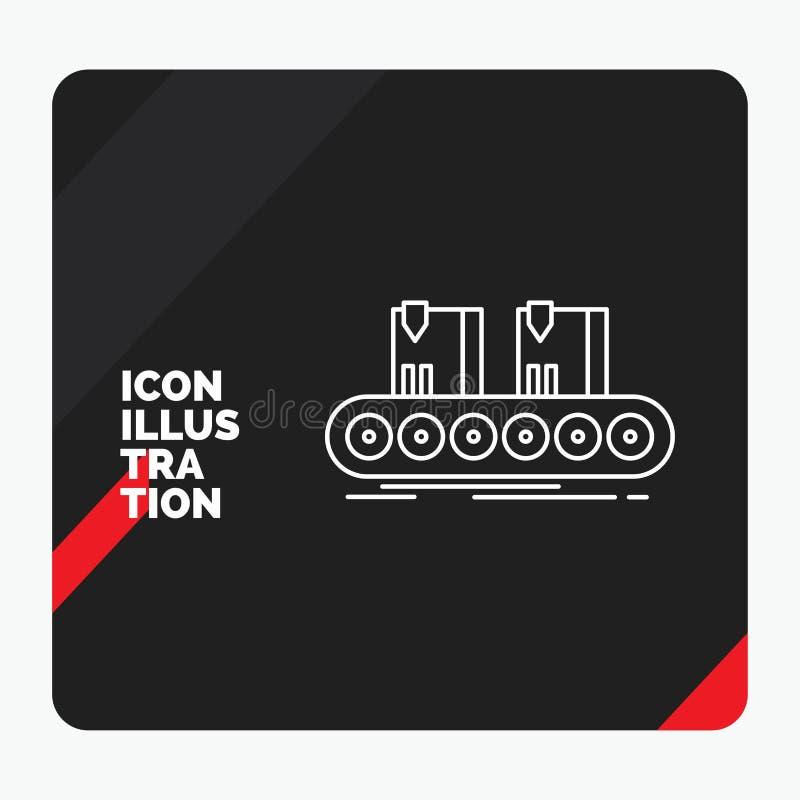 传送带的,箱子,传动机,工厂,线线象红色和黑创造性的介绍背景 向量例证