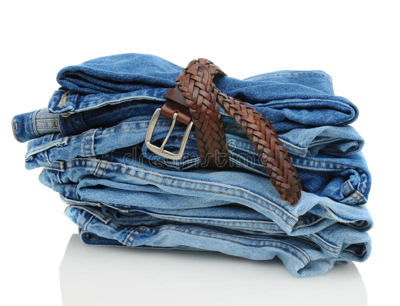传送带蓝色牛仔布牛仔裤栈 免版税库存照片