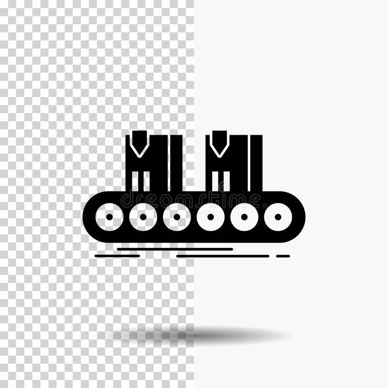 传送带,箱子,传动机,工厂,线在透明背景的纵的沟纹象 ?? 向量例证