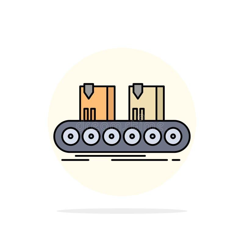 传送带,箱子,传动机,工厂,线平的颜色象传染媒介 向量例证