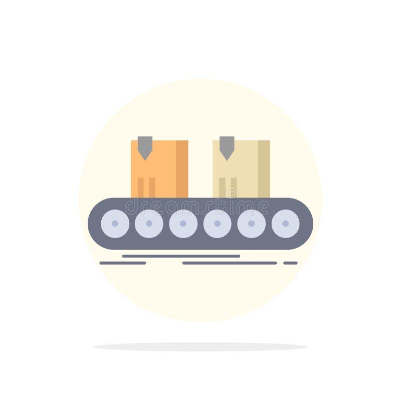 传送带,箱子,传动机,工厂,线平的颜色象传染媒介 库存例证