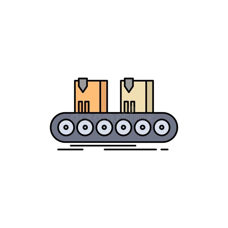传送带,箱子,传动机,工厂,线平的颜色象传染媒介 皇族释放例证