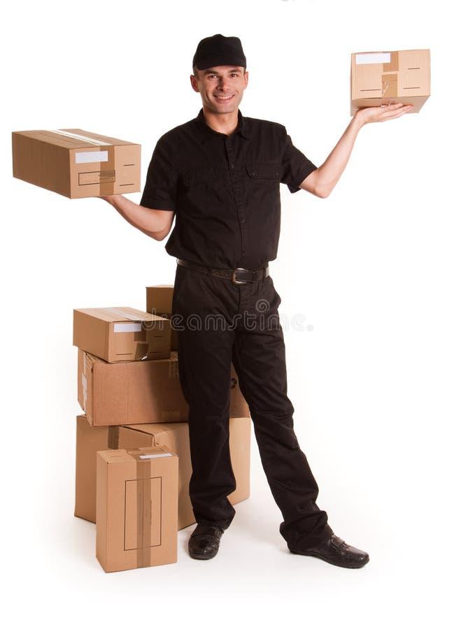 传送配件箱的信使 库存照片