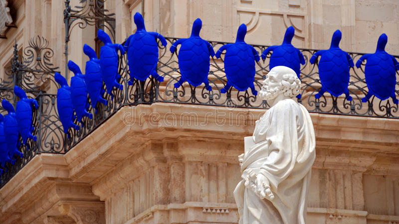 传道者圣保罗的雕象在西勒鸠斯 免版税图库摄影