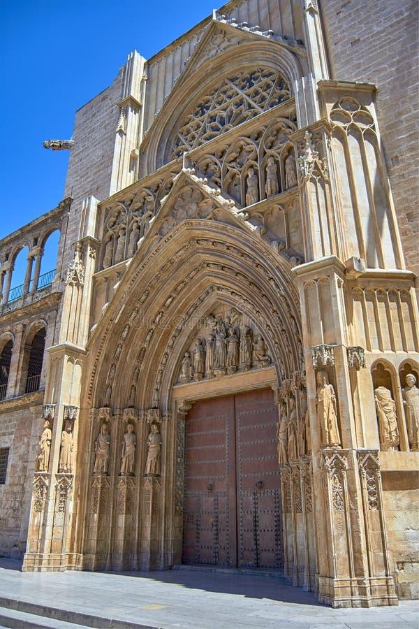 传道者的门,巴伦西亚大教堂 库存照片