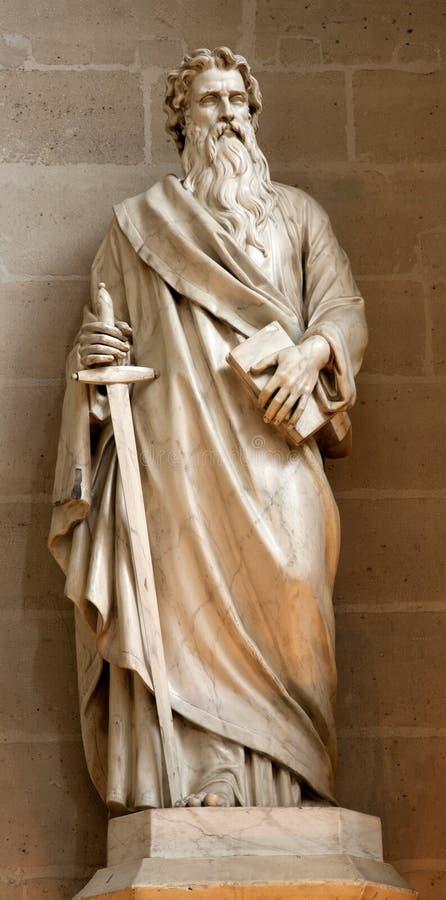 巴黎-传道者从热尔曼l'Auxerrois教会的保罗雕象 图库摄影