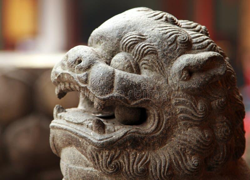 传统中国狮子的石头 免版税图库摄影