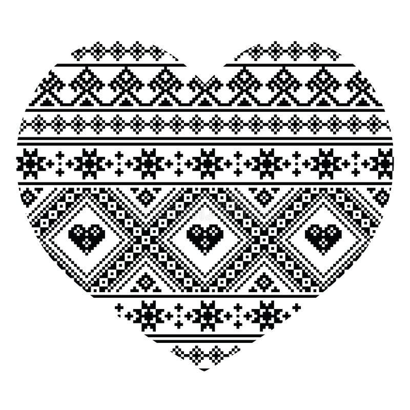 传统黑乌克兰人或白俄罗斯语民间艺术心脏样式-情人节 皇族释放例证