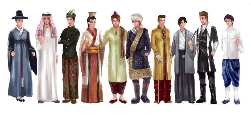 传统亚裔男性的人的高细节动画片例证 库存例证