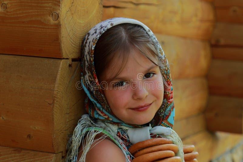 传统俄国小女孩 库存照片