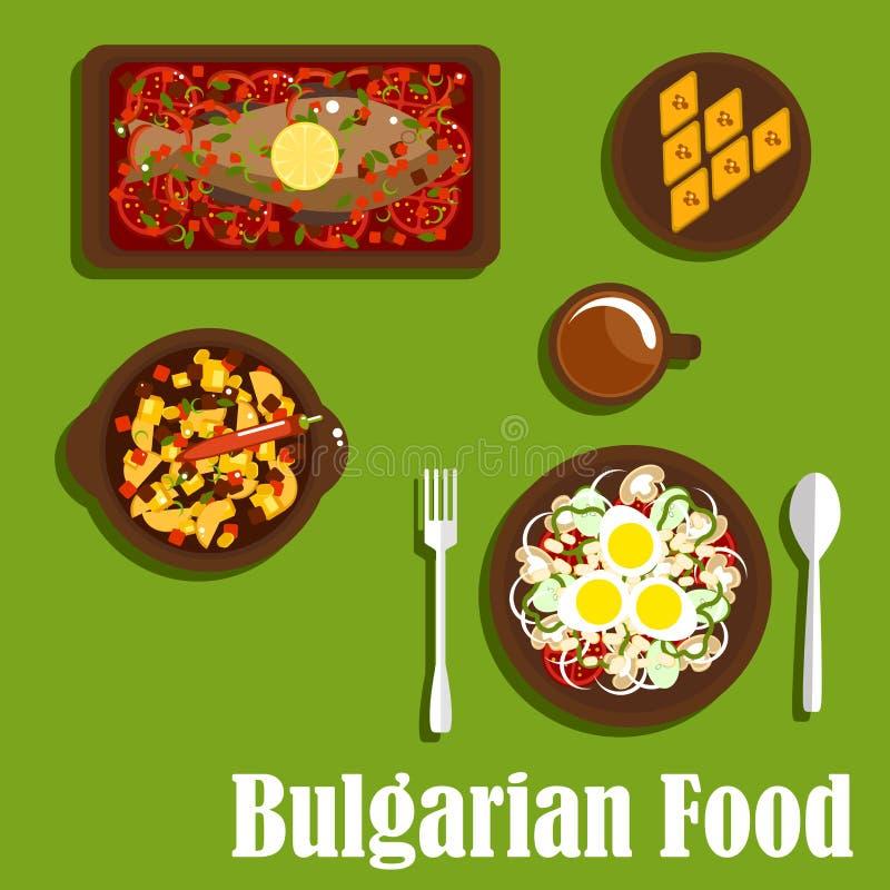 传统保加利亚烹调盘和饮料 皇族释放例证