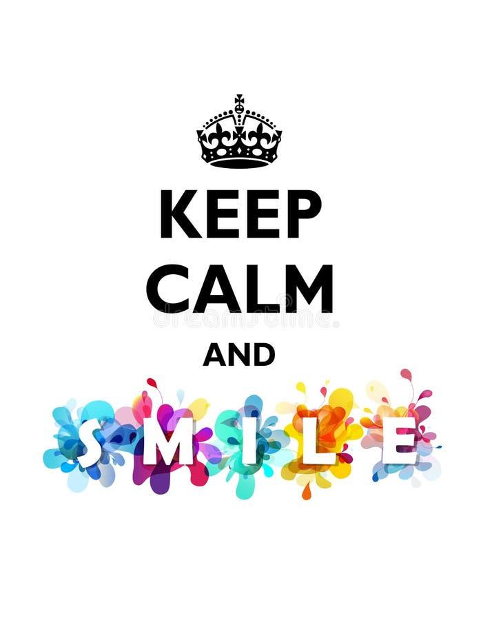 传统保持镇静和微笑引文 向量例证