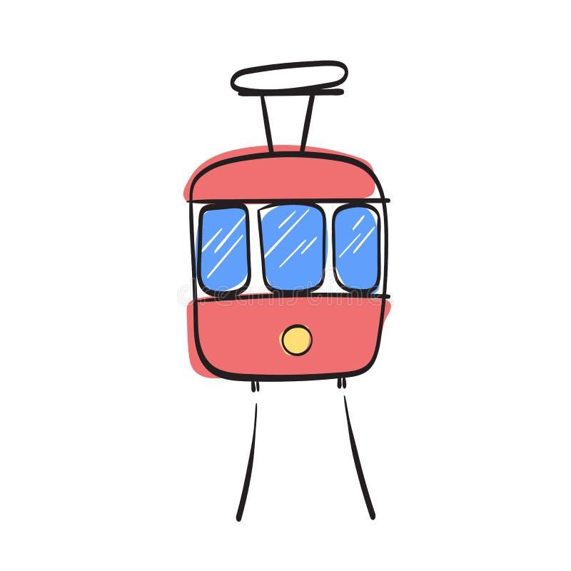 传统公开电车的明亮的乱画例证 库存例证