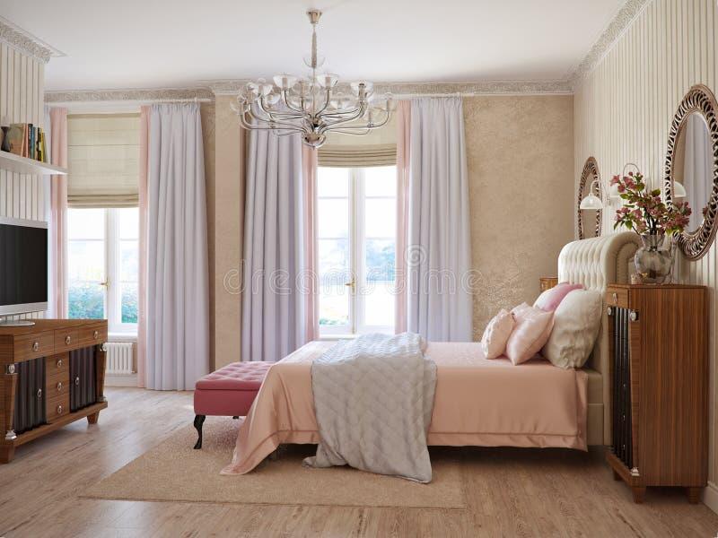 传统经典现代普罗旺斯土气卧室 库存照片