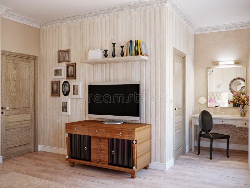 传统经典现代普罗旺斯土气卧室 免版税库存图片