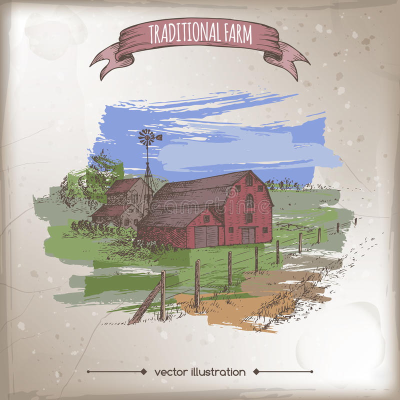 传统农厂房子、谷仓和牧场地上色传染媒介剪影 库存例证