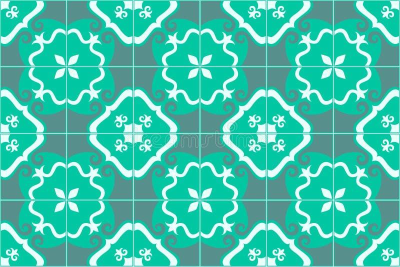 传统华丽葡萄牙语和巴西人铺磁砖在蓝绿色的azulejos 也corel凹道例证向量 向量例证