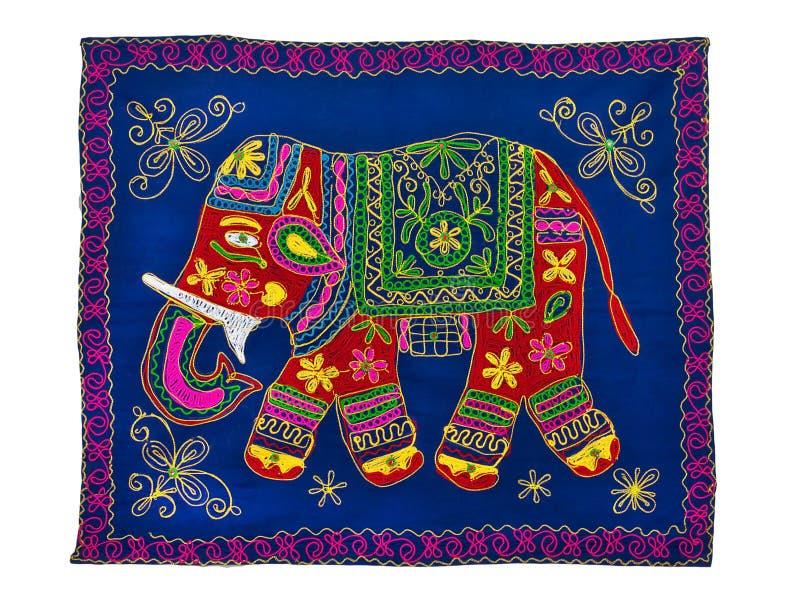 传统印地安刺绣样式 大象 免版税库存图片