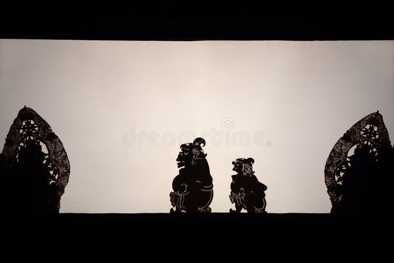 传统巴厘语木偶Wayang Kulit黑阴影剪影  免版税库存图片