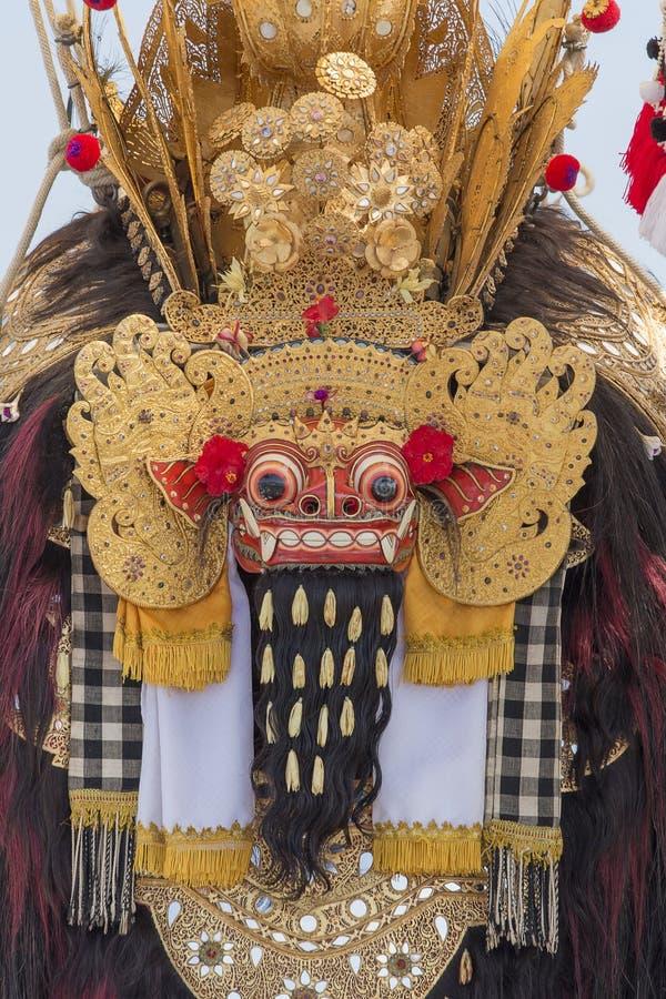 传统巴厘语Barong面具特写镜头在印度尼西亚 库存图片