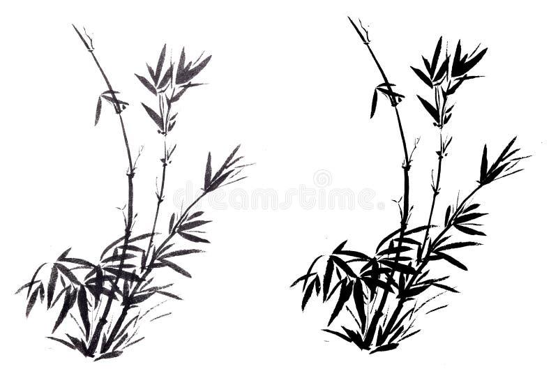 传统古老中国手画竹子 免版税图库摄影