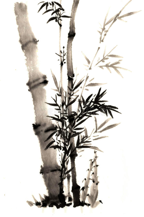 传统古老中国手画竹子 库存照片