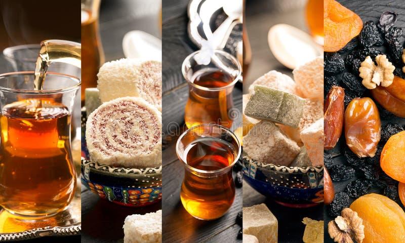 传统土耳其快乐糖和茶 免版税库存照片