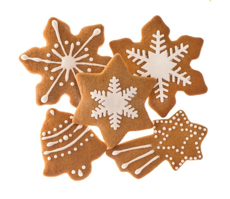 传统圣诞节甜食物姜饼曲奇饼 免版税库存图片