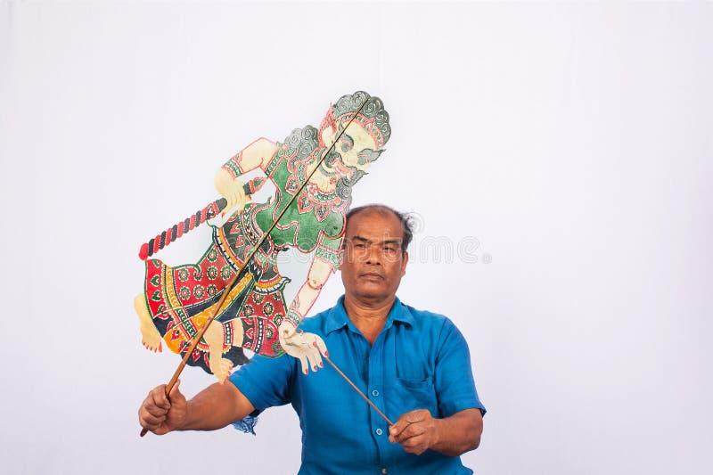 传统在泰国阴影木偶戏南部 图库摄影