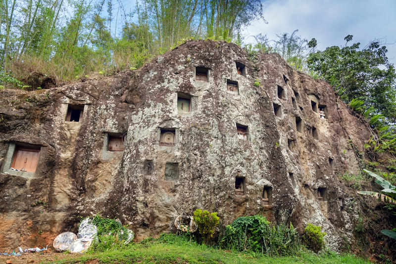 传统洞坟墓在岩石雕刻了在Lemo 塔娜Toraja,南苏拉威西岛,印度尼西亚 库存图片
