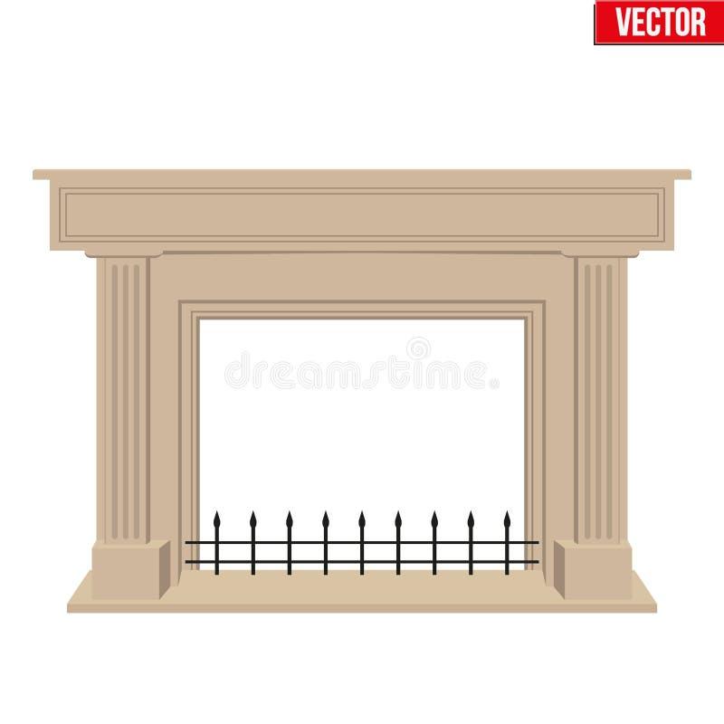 传统壁炉平的样式设计 向量例证