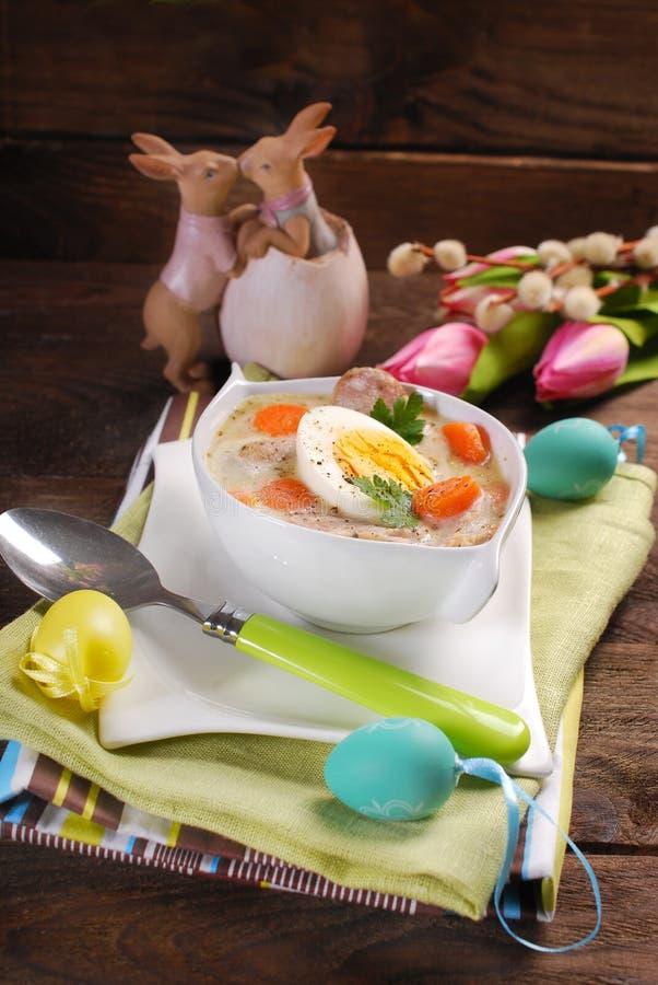 传统复活节白色罗宋汤 免版税库存照片