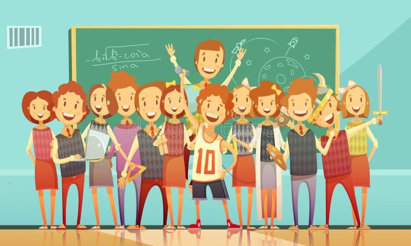 传统学校教育减速火箭的动画片海报 皇族释放例证