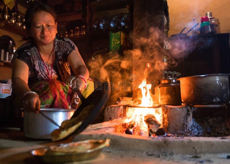 传统尼泊尔厨房 图库摄影