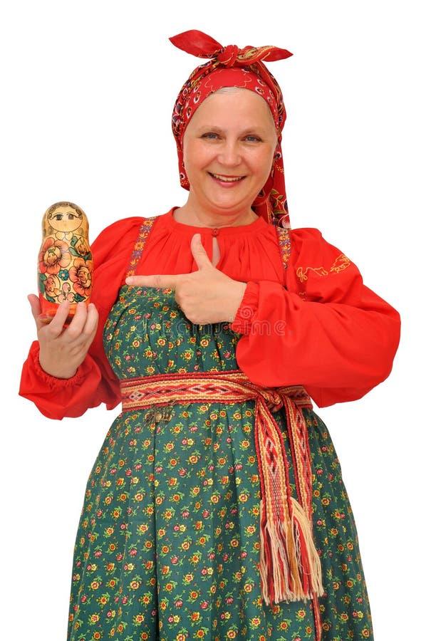 传统布料的妇女 图库摄影