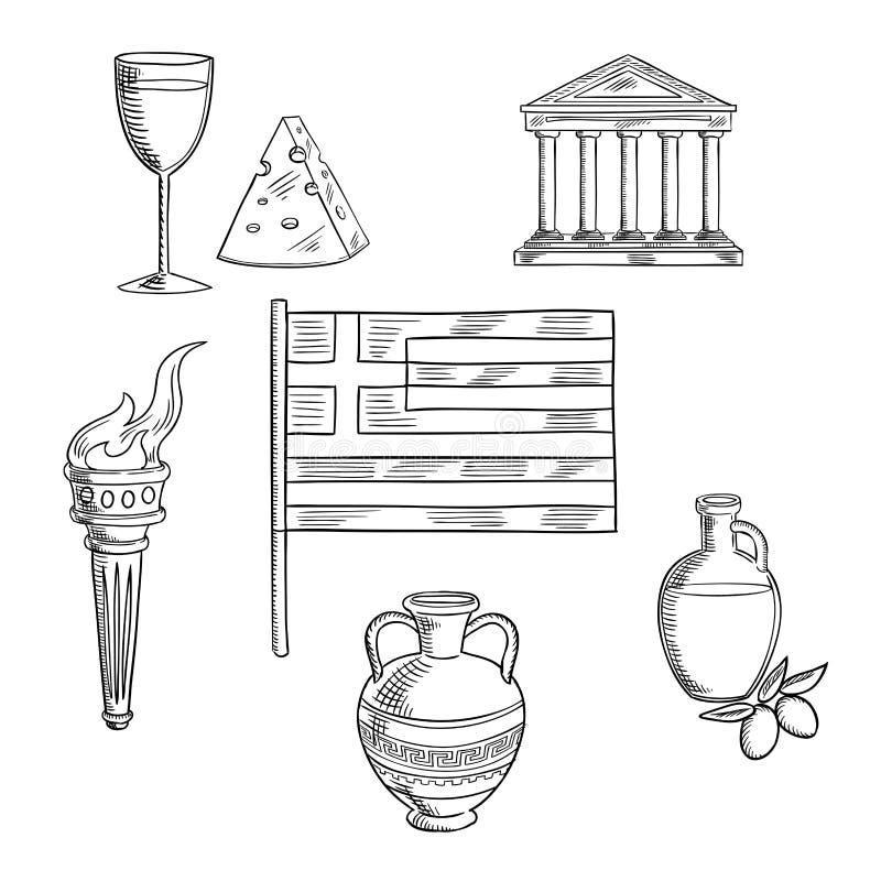 传统希腊标志和文化对象 库存例证