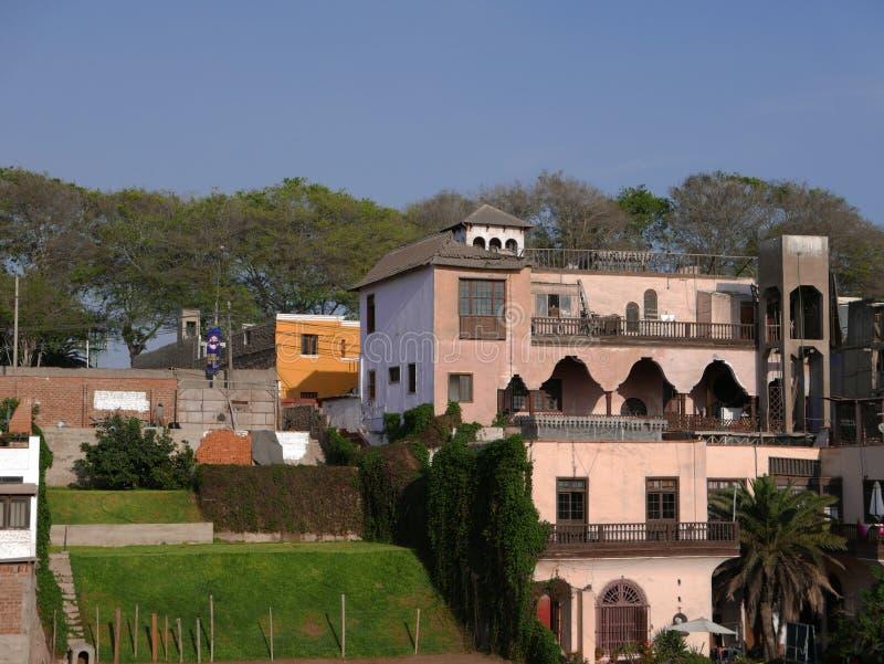 传统房子在利马,秘鲁Barranco区  免版税图库摄影