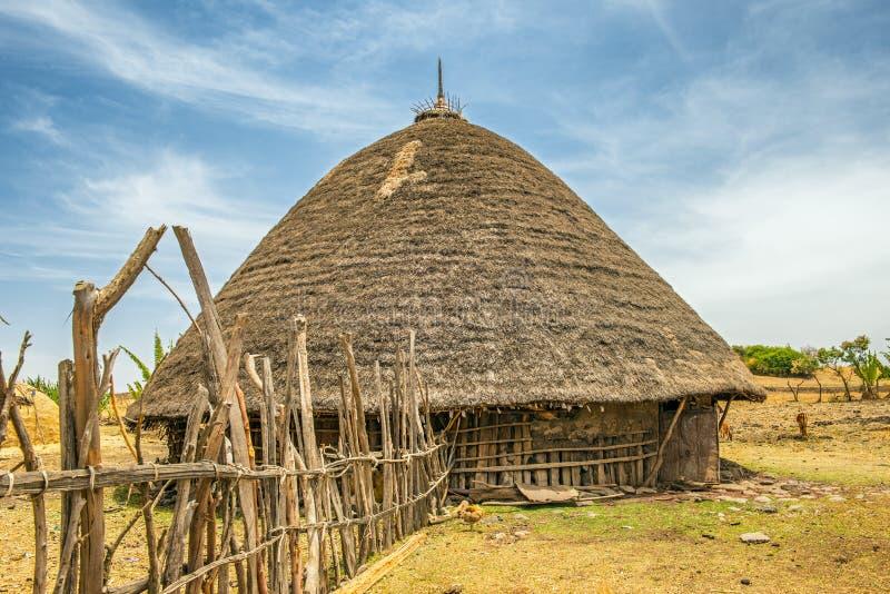 传统房子在埃塞俄比亚,非洲 免版税库存照片