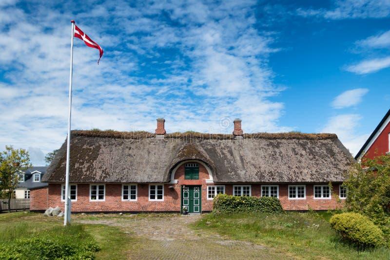 传统房子在法诺的丹麦Nordby 库存照片
