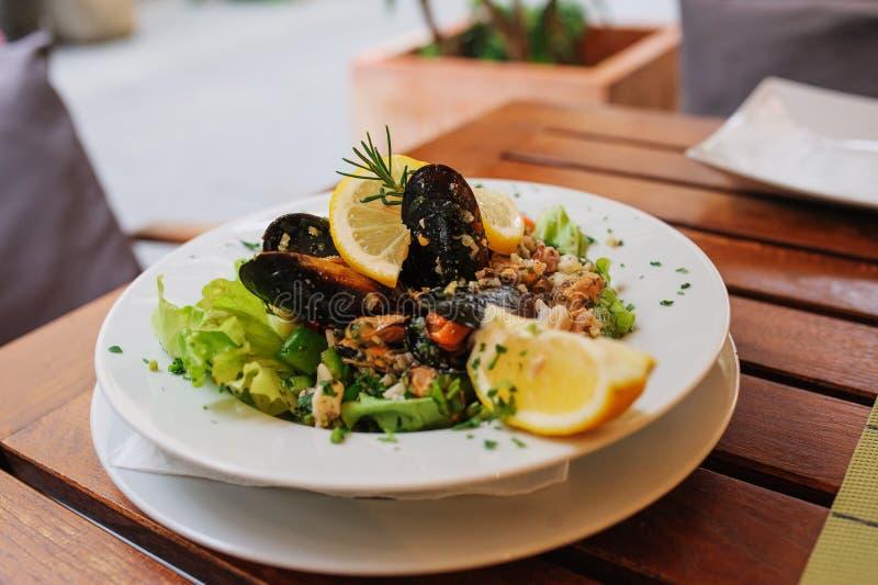 传统斯洛文尼亚烹调,海鲜沙拉用新鲜的淡菜,选择聚焦 免版税库存照片